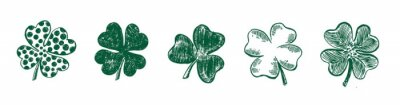 Posters Clover set, hand drawn style. Patrick day.Vector illustration.