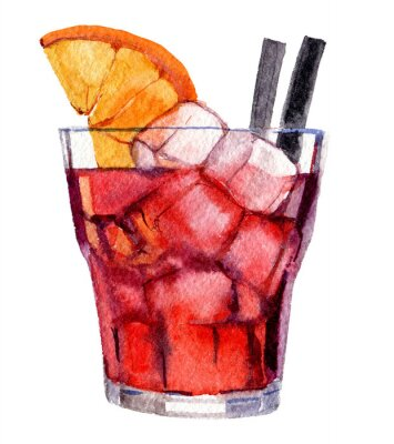 Posters Cocktail with ice and orange isolated on white background, watercolor illustration