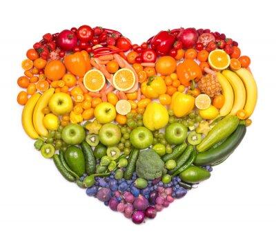 Posters Coeur arc en ciel de fruits et légumes