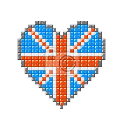 Posters Coeur De Pixel Union Jack Bloquer Brisith