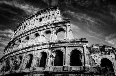 Posters Colisée à Rome, Italie. Amphithéâtre en noir et blanc