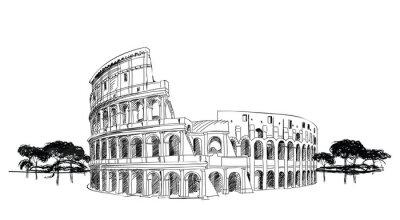 Posters Colisée à Rome, Italie. Haut-lieu touristique Coliseum, paysage de la ville.