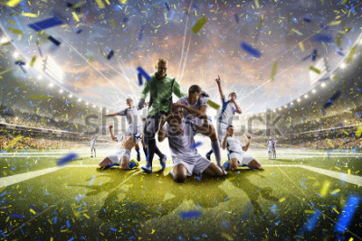 Posters Collage adult soccer players in action on stadium panorama