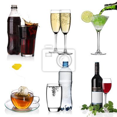 Collage avec du cola, cocktail, eau, thé, champagne, vin