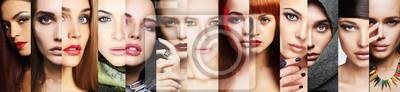 Posters collage de beauté.Faces de femmes.Maquillage