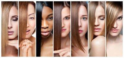 Posters Collage de femmes avec différentes couleurs de cheveux, teintures et teintures