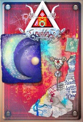 Posters Collage, fond, coloré, alchimique, rebuts, étoile, lune,