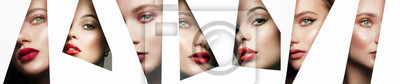 Posters collage. young beautiful women. female faces with makeup