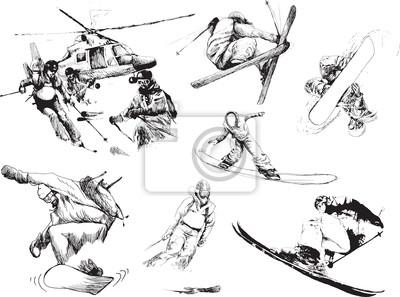 collecte de sports d'hiver - les skieurs et snowboarders