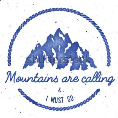 Posters Collection d'insignes d'aventure et d'expédition en montagne. Logo de l'expédition en plein air. Imprimé t-shirt estampé d'escalade. Illustration vectorielle aquarelle éminente.