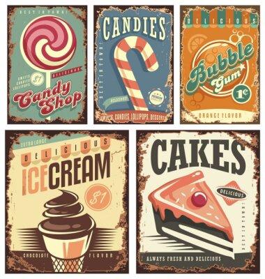 Posters Collection de bonbons vintage collection de signes en fer blanc