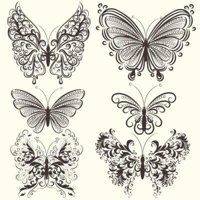 Posters Collection de papillons abstraits vecteur de remous pour la conception