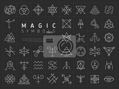 Posters Collection de vecteur de divers symboles blancs linéaires simples od artisanat magique sur fond gris foncé