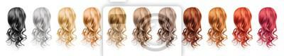 Posters Collection various colors of wavy hair on white background