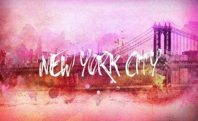 Posters Coloré, artistique, rose, nouveau, York, ville, panorama