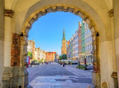 Posters Coloré, gothique, façades, int, vieux, ville, Gdansk ...