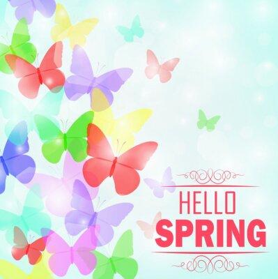 Posters Coloré, papillons, fond, texte, Hello, Printemps