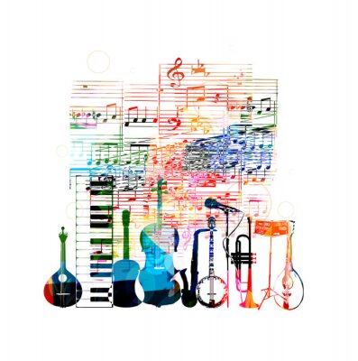 Posters Colorful conception des instruments de musique