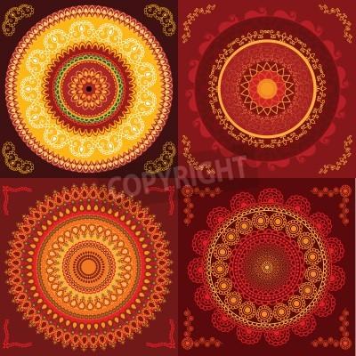 Posters Colorful conception Henna Mandala, très élaborée et facilement modifiable