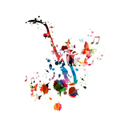 Posters Colorful fond de musique avec le saxophone