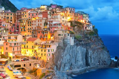 Posters Colorful houses at night in Manarola, Cinque terre Italy.