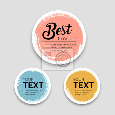 Posters Colorful label paper circle brush stroke best products style collections, vector illustration