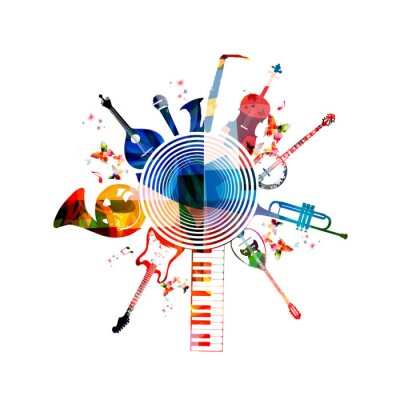 Posters Colorful musical instruments background