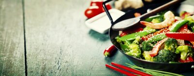 Posters colorful stir fry in a wok