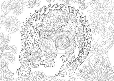 Coloriage Dinosaure Adulte.Coloriage De Dinosaure Ankylosaurus De La Periode Du Cretace