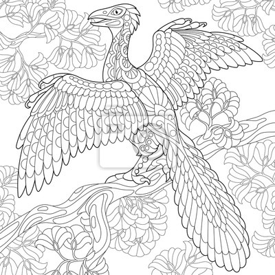 Coloriage Dinosaure Adulte.Coloriage De Dinosaure Darcheopteryx Oiseau Fossile De La Affiches