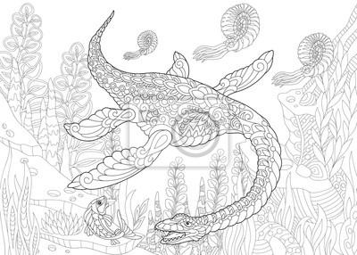 Coloriage Dinosaure Adulte.Coloriage De Dinosaure De Plesiosaure De Lere Mesozoique Croquis