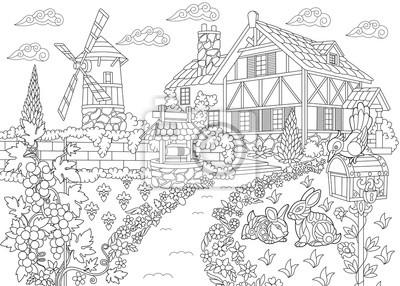 Coloriage Ferme Maison.Coloriage De Paysage Rural Ferme Moulin A Vent Puits Deau