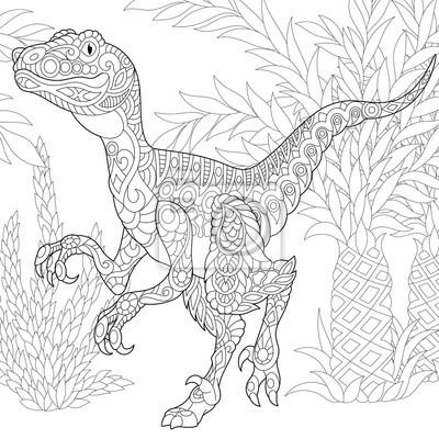 Coloriage Dinosaure Adulte.Coloriage De Velociraptor Dinosaure De La Fin Du Cretace Croquis