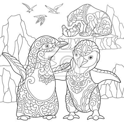 Coloriage Des Pingouins Empereurs Des Ours Polaires Et Des Mouettes