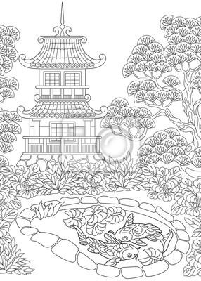 Posters Coloriage Du Temple Oriental Tour De Pagode Japonaise Ou Chinoise