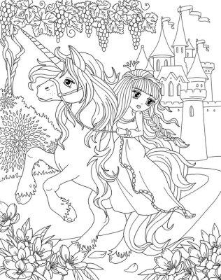 Coloriage Licorne Et Fleurs.Coloriage Licorne Et Princesse Affiches Murales Posters Myloview Fr