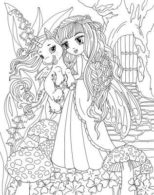 Coloriage Princesse Avec Licorne.Coloriage Licorne Et Princesse Affiches Murales Posters Myloview Fr