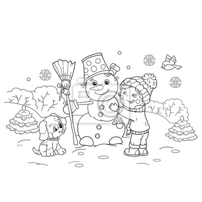 Colorier Page Contour Dessin Anime Garcon Confection Bonhomme Affiches Murales Posters Boule De Neige Rejouissez Vous Balai Myloview Fr
