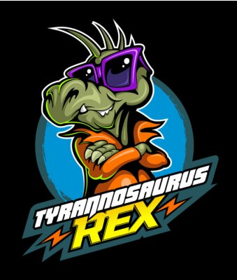 Posters Comic book, cartoon style tyrannosaurus in the leather jacket and with the sunglasses, vector image
