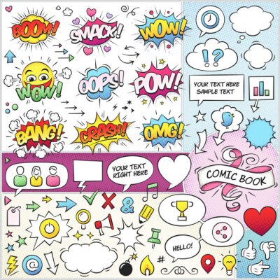 Posters Comic Book Elements Pack Vector