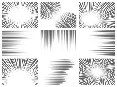 Posters Comic line effect. Radial and horizontal speed motion texture for manga and anime. Explosion, flash and fast action lines vector graphic set