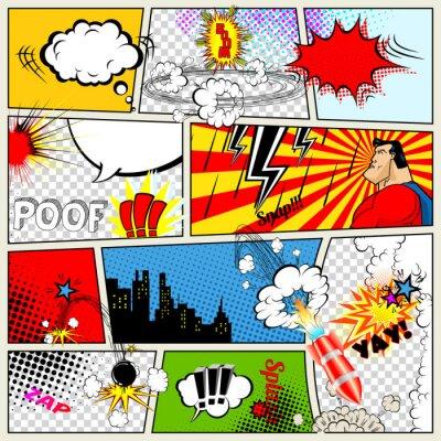 Posters Comics Template. Vector Retro Comic Book Speech Bubbles