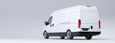 Posters Commercial van truck on white background. Transport and shipping