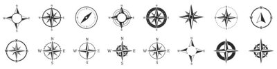Posters Compass icons. Set of vector compass icons.