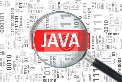 Posters Concept de développement logiciel. Langage de programmation Java à l'intérieur de loupe en code binaire.