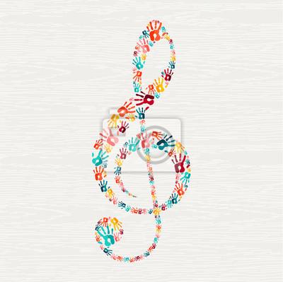 Posters Concept de forme de note de musique d'impression humaine