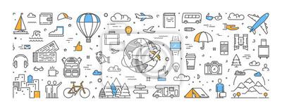Posters Concept de ligne vectorielle pour les voyages et le tourisme