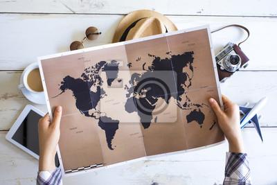Posters Concept de planification de voyage sur la carte