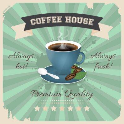 Posters Conception d'affiche de café avec la tasse de café dans le rétro style.