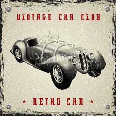 Posters Conception d'affiche de voiture vintage avec pixel print demi-teinte dot texture
